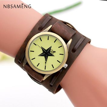 New Retro Punk Women Watch Men Star Rock Big Wide Leather Watches Bracelet Cuff Girls Cool Children Gift Relojes Mujer LZ4248
