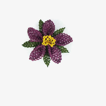 purple Crochet Flower Ring, Adjustable Ring,  Needle Lace  Ring , Statement Ring, Crochet Jewelry, Fun Jewelry,cocktail ring