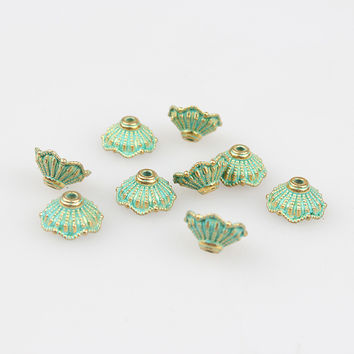 Free shipping 50pcs 10mm Zinc Alloy Green Pattern Spacer Bead End Caps For DIY Beads Bracelet Necklace Jewelry Findings