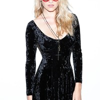 MOSS & ROCK Vintage Velvet Dress - Womens Dress - Black - Small