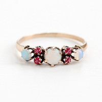 Antique 8k Rose Gold Opal & Simulated Rubies Ring Band - Vintage Size 6 1/2 Victorian Era Late 1800s Fine Jewelry