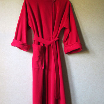 Red Robe vintage 70s lingerie romantic honeymoon long robe kimono velour velvet Vanity Fair Mad Men style women small Christmas Valentine