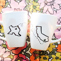 State or Country Heart Mugs-Going Away Present, Moving Away, Long Distance Relationship, Miss You, Overseas Adoption- Customize