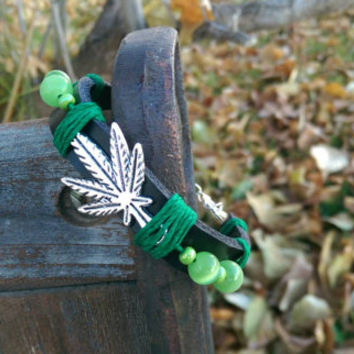 Black Leather, Marijuana Leaf, Adjustable Bracelet, Green Beads, 420, Gift for Her, Gift, Gift for Him, FREE Shipping in the USA