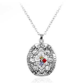 Women's Fashion Pittsburgh Steelers Super Cup Champion Rhinestone Crystal Pendant Necklace Party Jewelry Fans Necklaces Gift