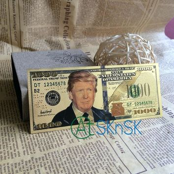 Big Sale Colorful Double Design President Donald Trump Money Dollar Bill USD $1000 America Gold Plated Bank Note Colletion