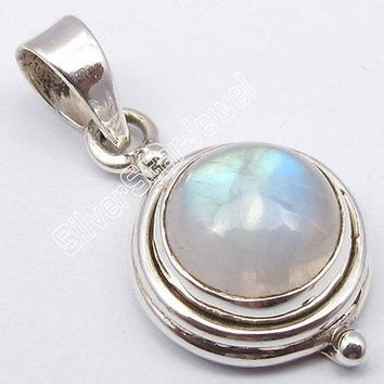 Muiltiple Choices Chanti International Silver Dazzling RAINBOW MOONSTONE INDIAN JEWELLERS Pendant 1 Inches Variation