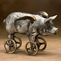 Flying Pig Coin Bank Cast Aluminum with Bronze Wheels by Nelles