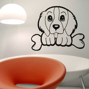 Vinyl Wall Decal Sticker Puppy with a Bone #OS_AA578