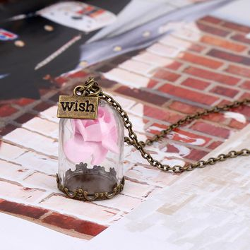 Antique Bronze Forever Rose Flower Glass Wish Bottle Necklace For Women Ladies