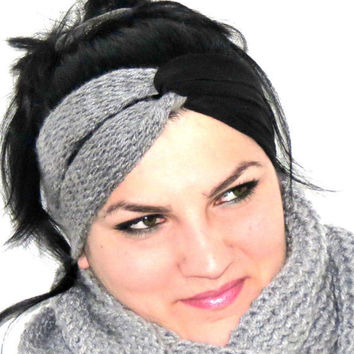 Knotted Turband Headband Twist knit and jersey fabric Ear Warmer Gray Black. Stretchy Workout Hair Band. Hair Bands Hair Coverings for Women