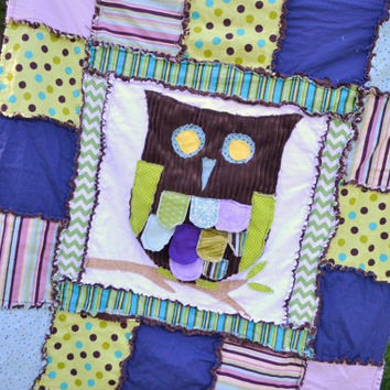 Baby Girl Crib Size Owl RAG QUILT in Purple, Green, and Turquoise, Made to Order
