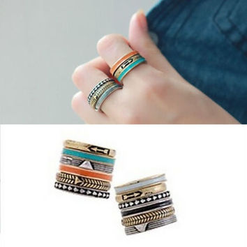 Women 6Pcs/Set Retro Bohemian Fashion Band Midi Finger Knuckle Stack Rings Set = 1928862404