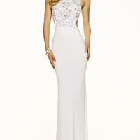 High Neck Open Back Mori Lee Jersey Prom Dress