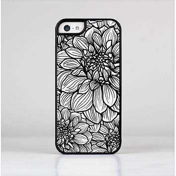 The White and Black Flower Illustration Skin-Sert for the Apple iPhone 5c Skin-Sert Case