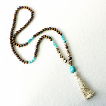 108 Mala Necklace Turquoise Jade Wood Tassel Trending Yoga Zen Boho Bohemian Beach Prayer Beads Meditation Peace Handmade Long Jewelry Gift