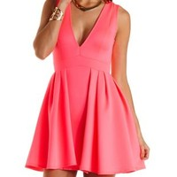 Layered Neon Skater Dress by Charlotte Russe - Neon Pink
