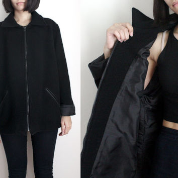 Boxy Black Wool Coat
