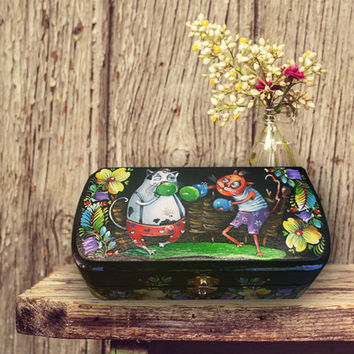 Hand painted Eyeglass Case, handmade wooden Sunglass case, box for glasses, Glasses case, hard sunglass case cat, spectacle case, for men