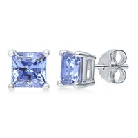 Sterling Silver with Princess Blue Swarovski Zirconia Solitaire Stud Earrings 2.48 CTWBe the first to write a reviewSKU# E1062-SW04-6