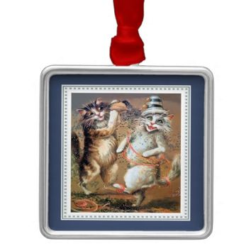 Anthropomorphic Partying Cats Throw Confetti Square Metal Christmas Ornament