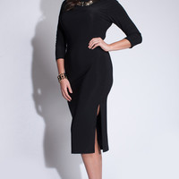 Plus Size Stretch Career Midi Pencil Dress