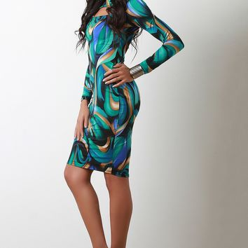Abstract Whirl Keyhole Yoke Midi Dress