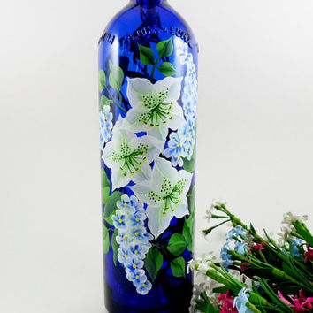 Blue Lighted Wine Bottle White Azalea Flowers Wisteria Hand Painted 750 ml