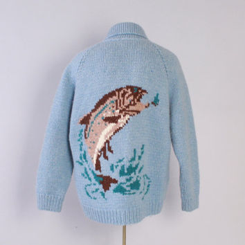 Vintage 60s COWICHAN Sweater / 1960s Men's FISHING Zip Up Hand Knit Trout Creel Cardigan L - XL