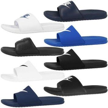 Nike Spencer JDI Swoosh Bath Slippers Just Do It Sandals Beach Shoes Shower