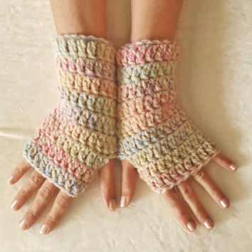 Multicolor wool armwarmers fingerless gloves handmade pastel colors