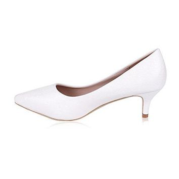 buganda Womens Sexy Elegant Low Kitten Heel Shoes PU Leather Pointed Toe Classic Pumps 5cm