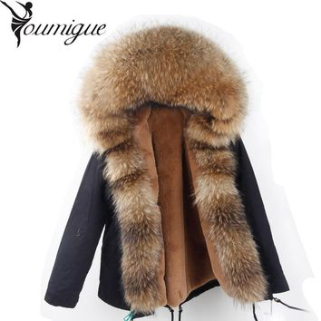 2017 Winter Parka fur hood winter jacket women parkas natural real fur coat for women thick soft lining abrigos de piel mujer