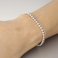Simple 925 Sterling Silver Chain Bracelet, layerable bracelet, Layer-able Bracelet