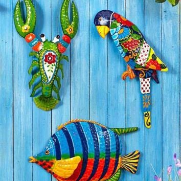 Tropical Metal Wall Art Hanging Sculpture Home Yard Decor Lobster Fish or Parrot