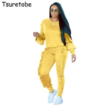 Tsuretobe Plus size Two Piece Ruffles Jumpsuits Women Rompers Long Sleeve Winter Women spring Outfits Casual Party Overalls