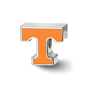 NCAA Sterling Silver University of Tennessee Enameled Logo Bead Charm