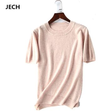 Summer Cashmere Wool Sweater JECH Spring Autumn Women Solid Big Short Sleeve O-neck Pullovers Jumper Knitted Oversize Sweaters