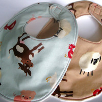Baby Bib Set (2) - Boy or Girl - Farm Animals - Triple Layer  Bibs, Minky Bib, Bib with Velcro