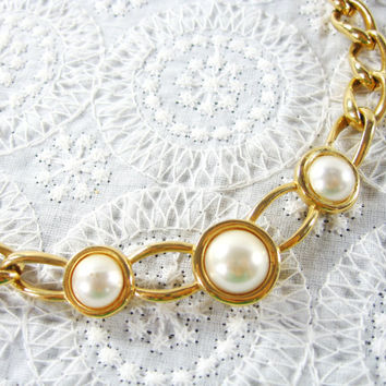 Vintage Collar Necklace, Imitation Pearl Cabochons, Chunky Gold Tone Chain, Designer NAPIER, 1950s Mad Men Jewelry