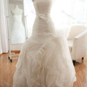 Fashion 2014 spring wedding dress strapless sleeveless big discount,cheapest