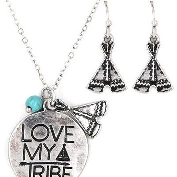 Love My Tribe Necklace with Earrings