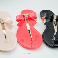 Womens Sandals Flip Flops Thong Rhinestone Bow Jelly Flat Sandal Shoe New