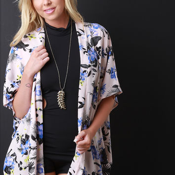 Floral Print Short Sleeve Kimono