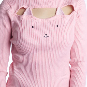Kawaii Hollow Chest Kitty Cat Keyhole Sweater
