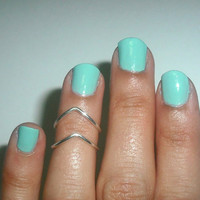 Chevron Above The Knuckle Ring - Silver Chevron Knuckle Rings -  Set of 2