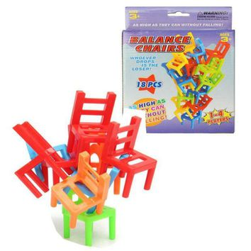 ICIK272 18pcs/box Plastic Children Balance Toy Stacking Chairs Kids Desk Playing Game Toys Parent Child Interactive Party Game Toys