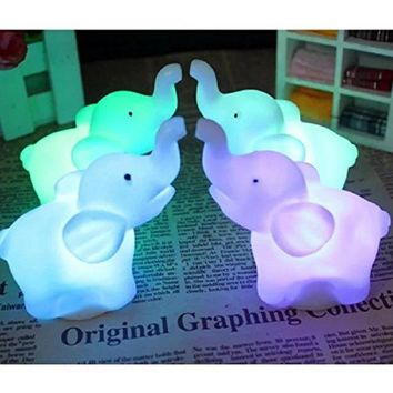 Night Light 1 Pcs 7 Color Changing Elephant LED Night Light Lamp with Battery Party Decor