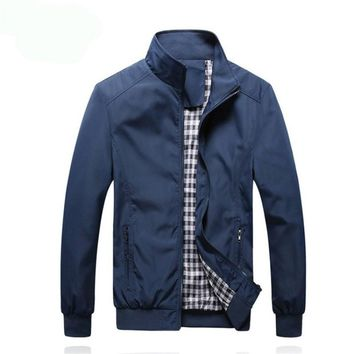 Men's Autumn Jacket with Zipper and Plaid Lining