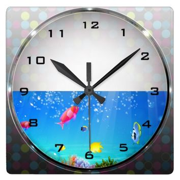 Freshwater Fish Aquarium Wall Clock